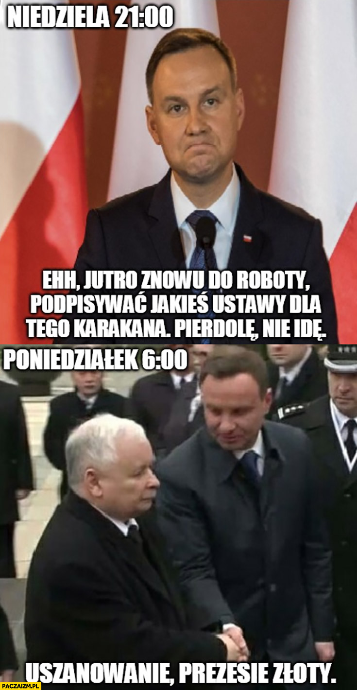 Andrzej Duda niedziela wieczór: jutro znowu do roboty walić to nie idę, poniedziałek rano: Kaczyński uszanowanie prezesie złoty