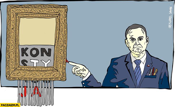 Andrzej Duda obraz w niszczarce Banksy konstytucja Obywatel Janek