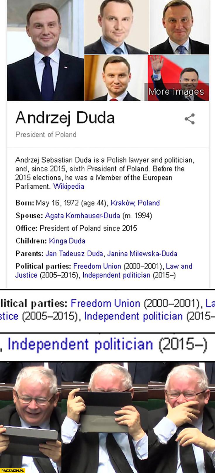 Andrzej Duda od 2015 niezależny polityk Kaczyński się śmieje