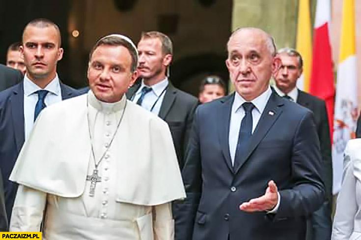Andrzej Duda papież Franciszek zamiana twarzy face swap