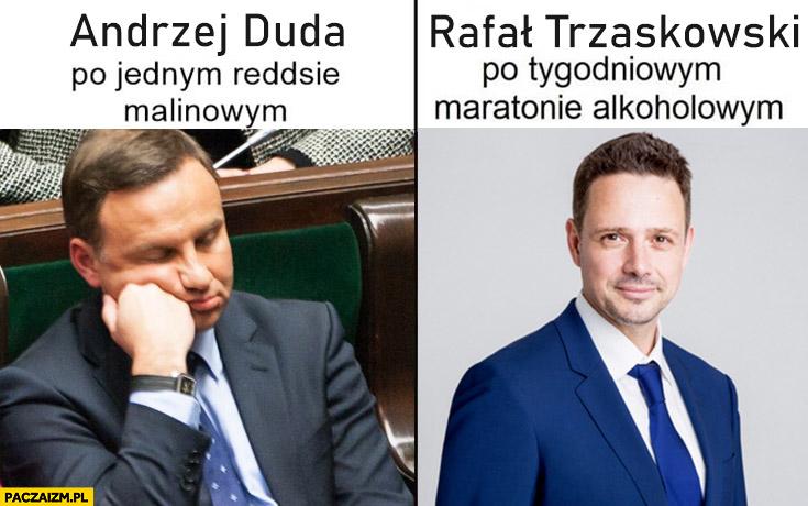Andrzej Duda po jednym Reddsie malinowym vs Rafał Trzaskowski po tygodniowym maratonie alkoholowym