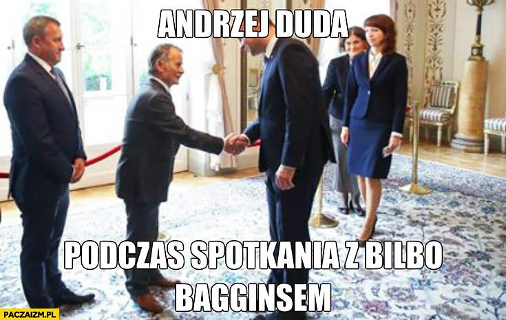 Andrzej Duda podczas spotkania z Bilbo Bagginsem