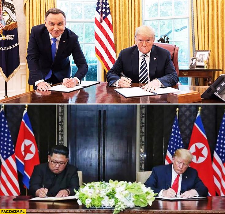 Andrzej Duda podpisuje u Trumpa na stojąco Kim Jong Un podpisywał na siedząco porównanie