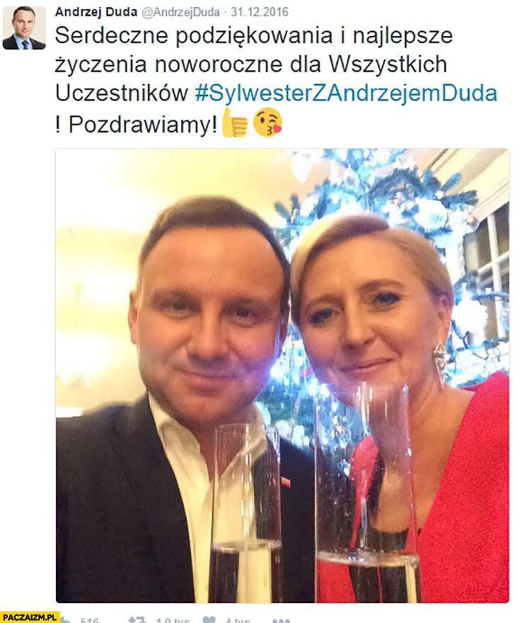 Andrzej Duda pozdrawia na twitterze uczestników Sylwestra z Andrzejem Dudą