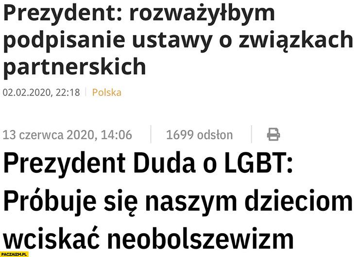 Andrzej Duda rozważyłbym podpisanie ustawy o związkach partnerskich, prezydent o LGBT: próbuje się naszym dzieciom wciskać neobolszewizm
