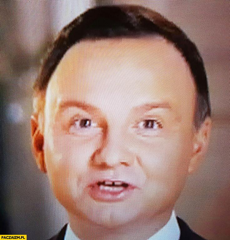 Andrzej Duda składa życzenia świąteczne śmieszna głowa ...