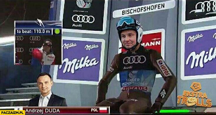 Andrzej Duda skoczek na skoczni narciarskiej przeróbka