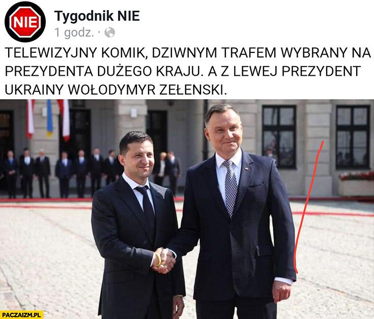 Andrzej Duda telewizyjny komik dziwnym trafem wybrany na prezydenta dużego kraju a z lewej prezydent Ukrainy Wołodymyr Zełenski