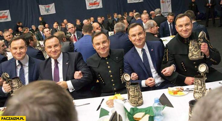 Andrzej Duda u górników face swap przeróbka photoshop
