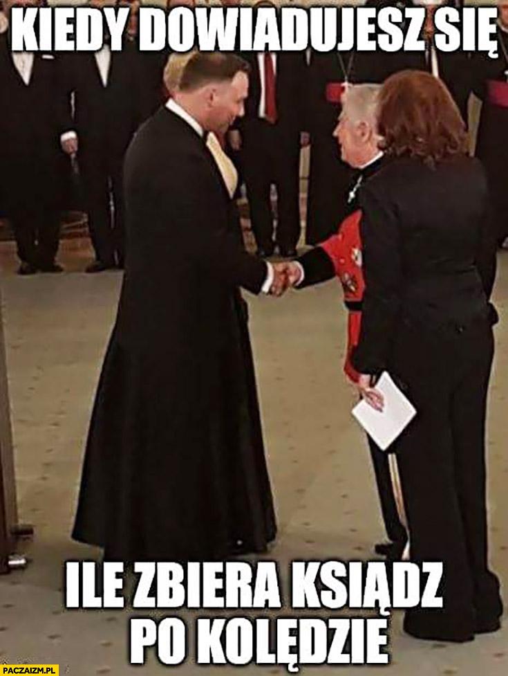 Andrzej Duda w sutannie kiedy dowiadujesz się ile zbiera ksiądz po kolędzie