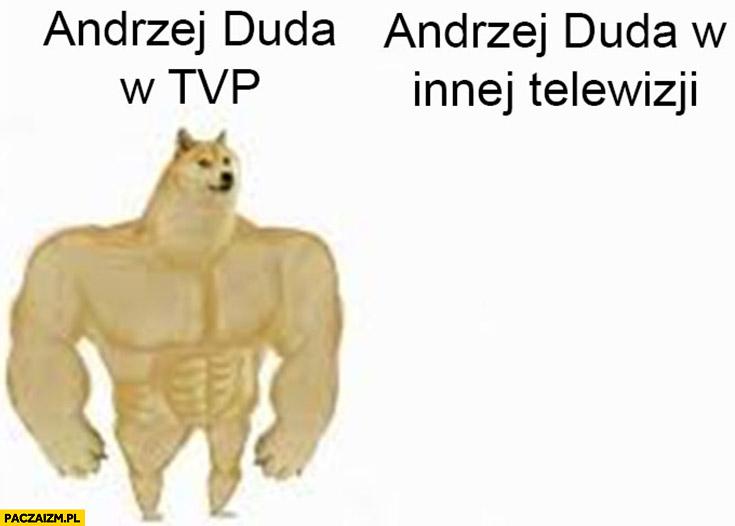 Andrzej Duda w TVP vs Andrzej Duda w innej telewizji nie ma go pieseł doge