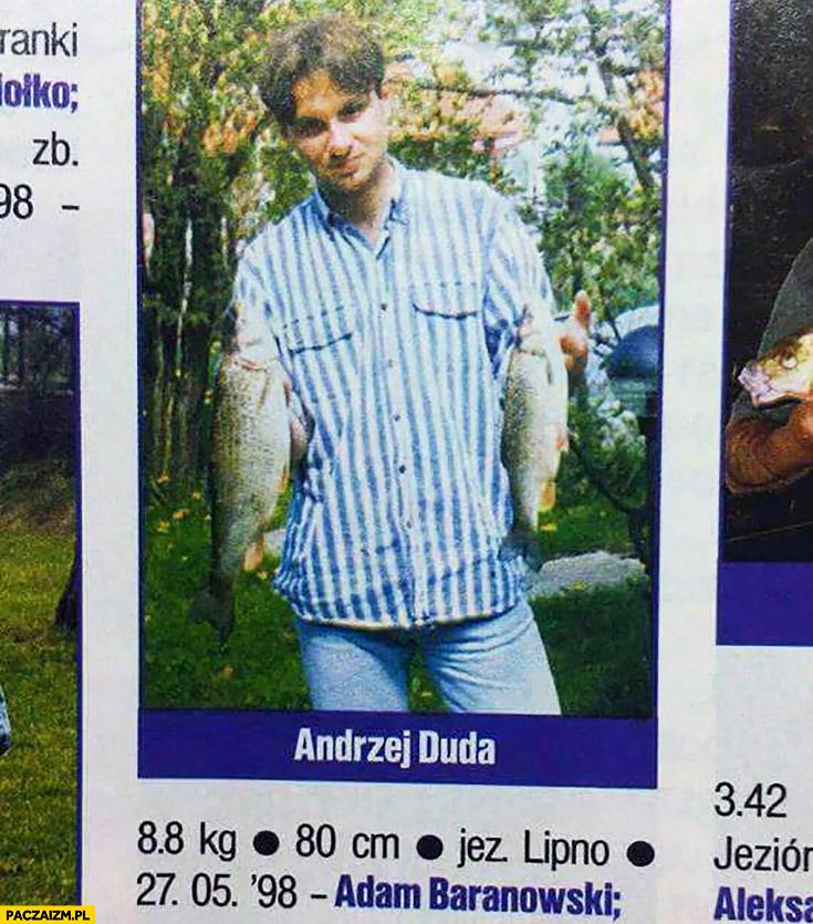 Andrzej Duda wędkarz zdjęcie z rybami z gazety wędkarskiej