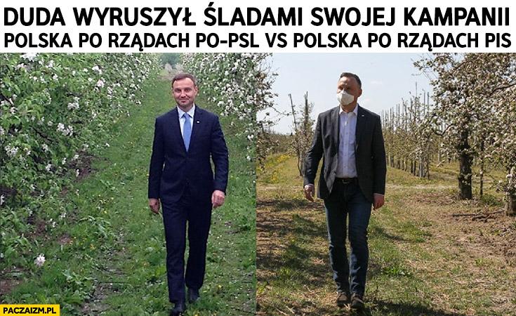 Andrzej Duda wyruszył śladami swojej kampanii sad kiedyś ładny dzisiaj wysuszony zniszczony