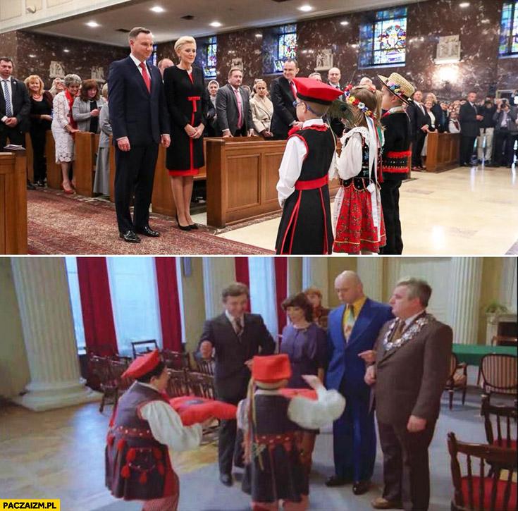 Andrzej Duda z dziećmi w krakowskich strojach jak w filmie Miś Ochódzki