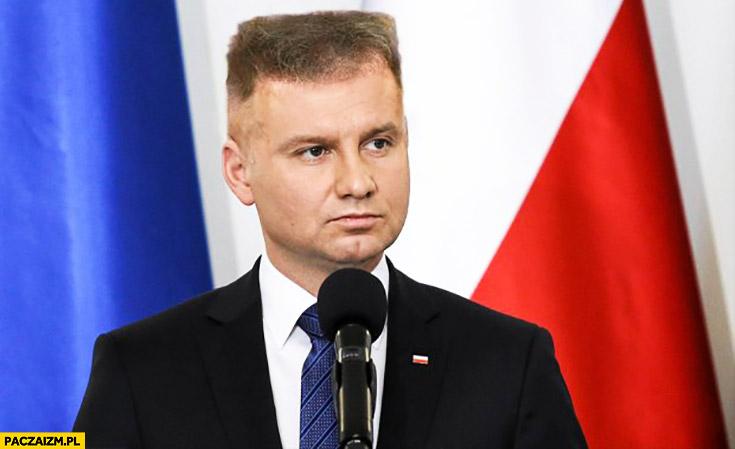 Andrzej Duda z fryzura Rutkowskiego kwadrat