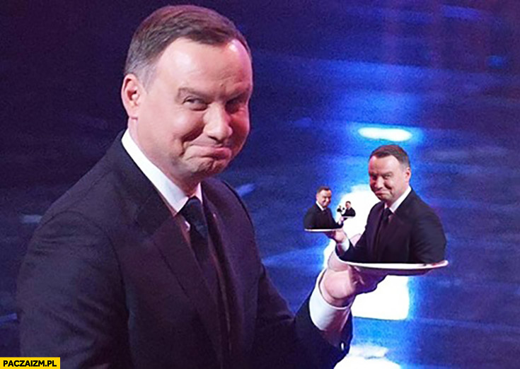 Andrzej Duda z tortem w kształcie siebie przeróbka photoshop