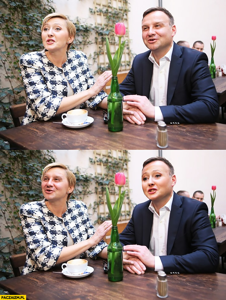 Andrzej Duda z żoną Agata Duda face swap