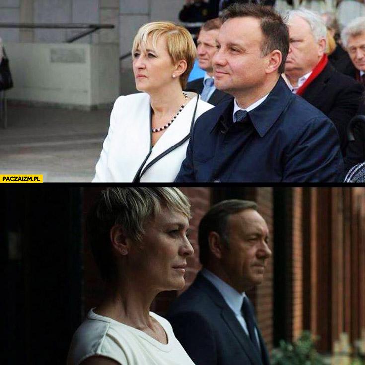 Andrzej Duda z żoną jak Frank Claire Underwood House of Cards