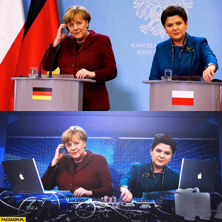 Angela Merkel Beata Szydło DJ didżejki Photoshop przeróbka
