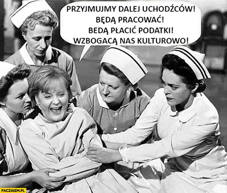 Angela Merkel w psychiatryku: przyjmujmy dalej uchodźców, będą pracować, płacić podatki, wzbogacą nas kulturowo kaftan bezpieczeństwa