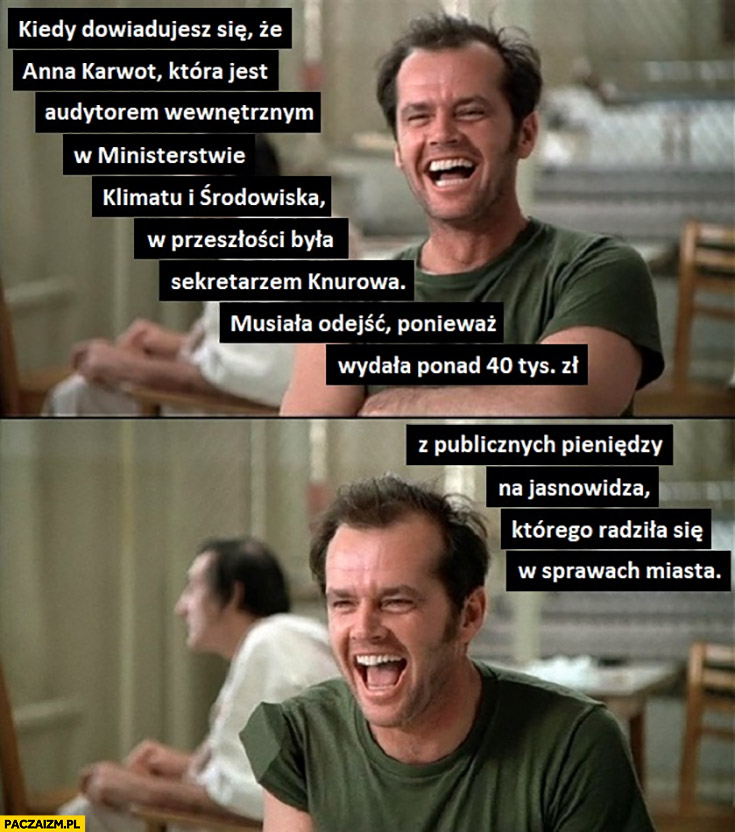Anna Karwot audytor w ministerstwie klimatu i środowiska musiała odejść bo wydala 40 tysięcy z publicznych pieniędzy na jasnowidza którego radziła się w sprawach miasta