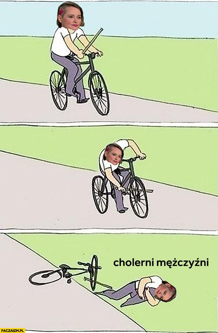 Anna Zawadzka gleba na rowerze mem cholerni mężczyźni