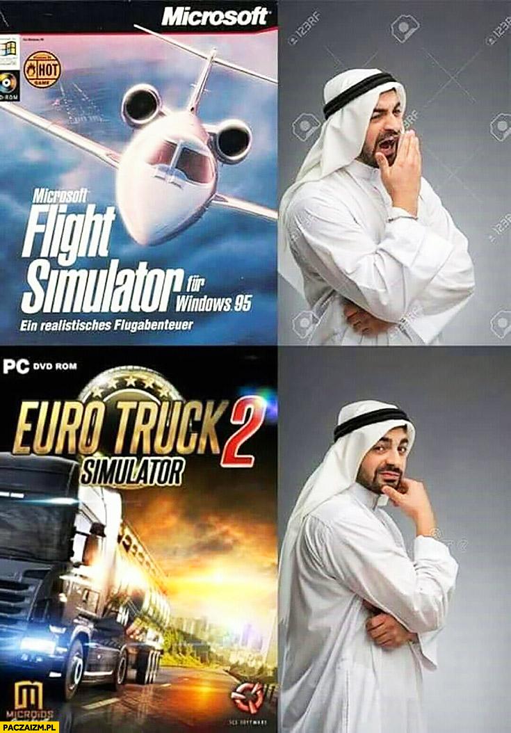 Arab muzułmanin Microsoft Flight Simulator nie chce, Euro Truck Simulator tak