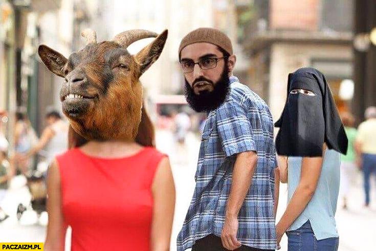 Arab ogląda się za kozą nie chce żony muzułmanki w burce hidżabie