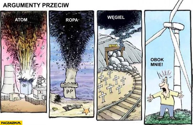 Argumenty przeciw: elektrowni atomowej, ropie, węglowi, wiatrakom obok mnie wkurzony Janusz