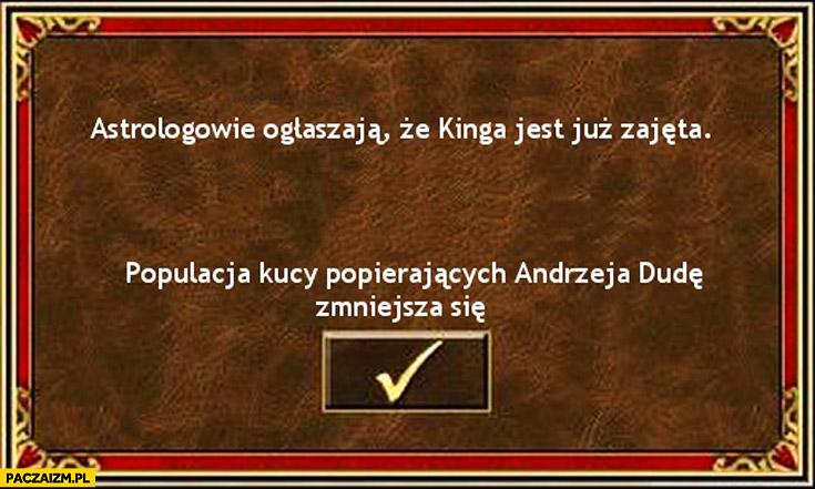 Astrologowie ostrzegają że Kinga Duda jest już zajęta populacja kucy popierających Andrzeja Dudę zmniejsza się