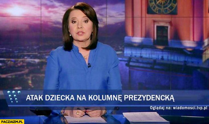 Atak dziecka na kolumnę prezydencką pasek Wiadomości TVP wypadek BORu Dudy