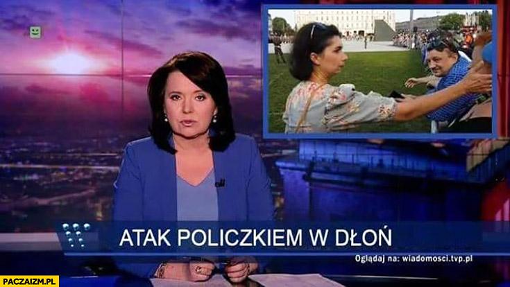 Atak policzkiem w dłoń pasek wiadomości TVP Ruda spoliczkowana KOD Komitet Obrony Demokacji