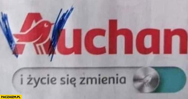 Auchan Wuhan i życie się zmienia przeróbka logo