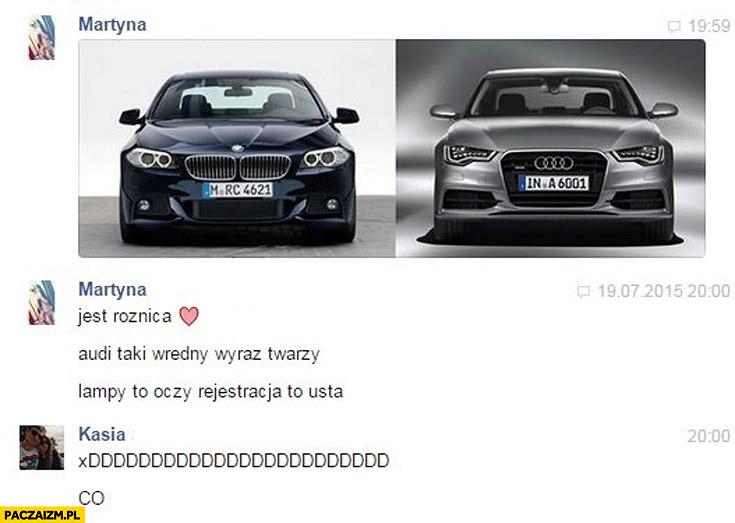 Audi BMW kobiety porównują wredny wyraz twarzy lampy to oczy rejestracja to usta
