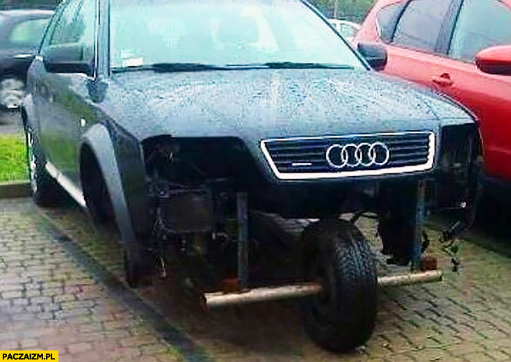 Audi przerobione na jedno koło z przodu