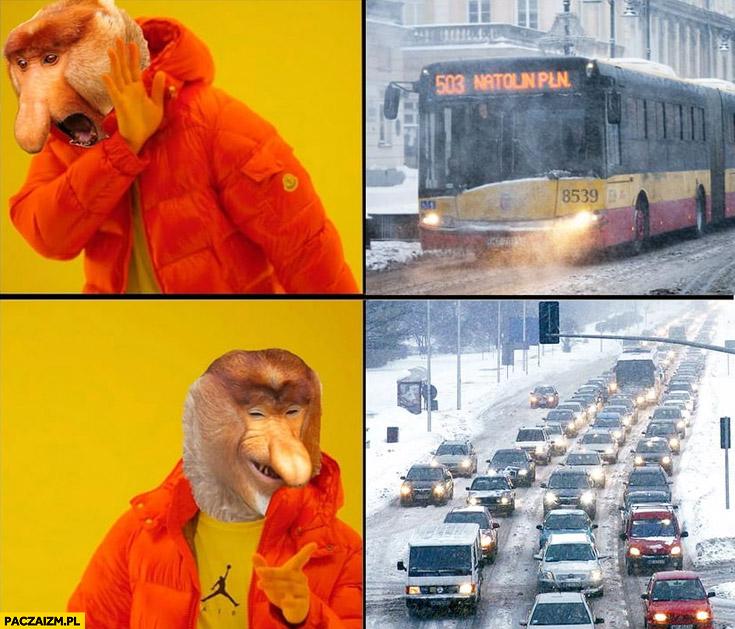 Autobus nie chce, woli stać w korku mnóstwo samochodów typowy Polak nosacz Drake