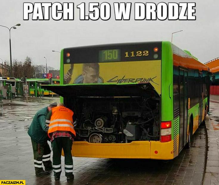 Autobus z reklamą Cyberpunk 2077 zepsuty awaria patch w drodze