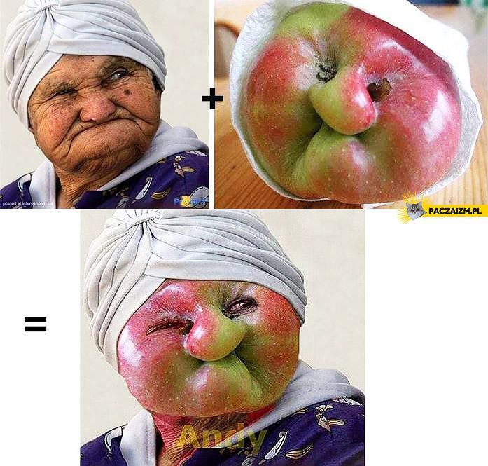 Babcia jabłko kwaśna mina