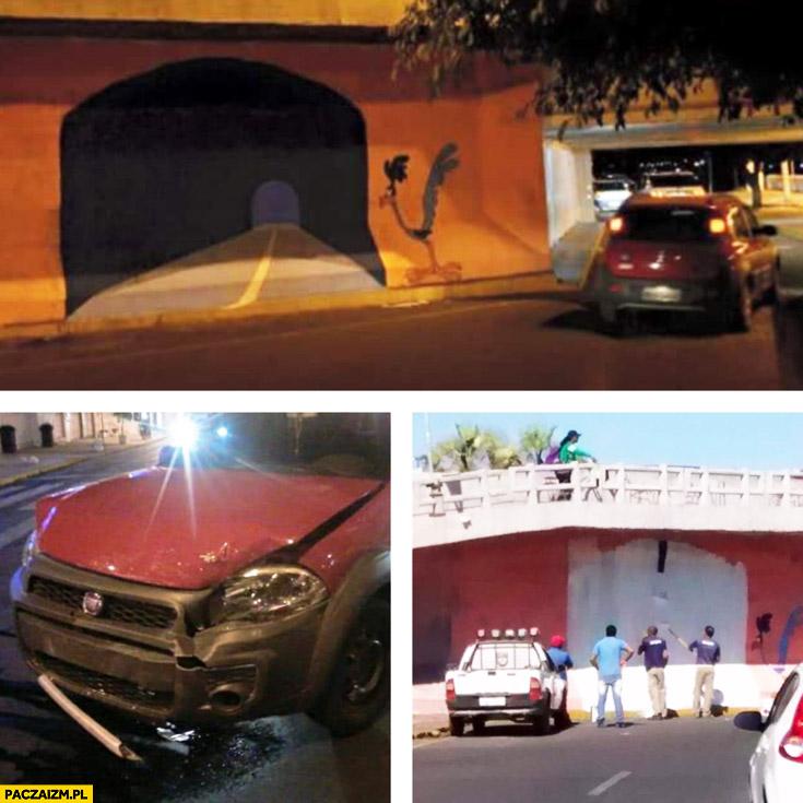 Babka wjechała w ścianę Struś Pędziwiatr namalowany tunel fail
