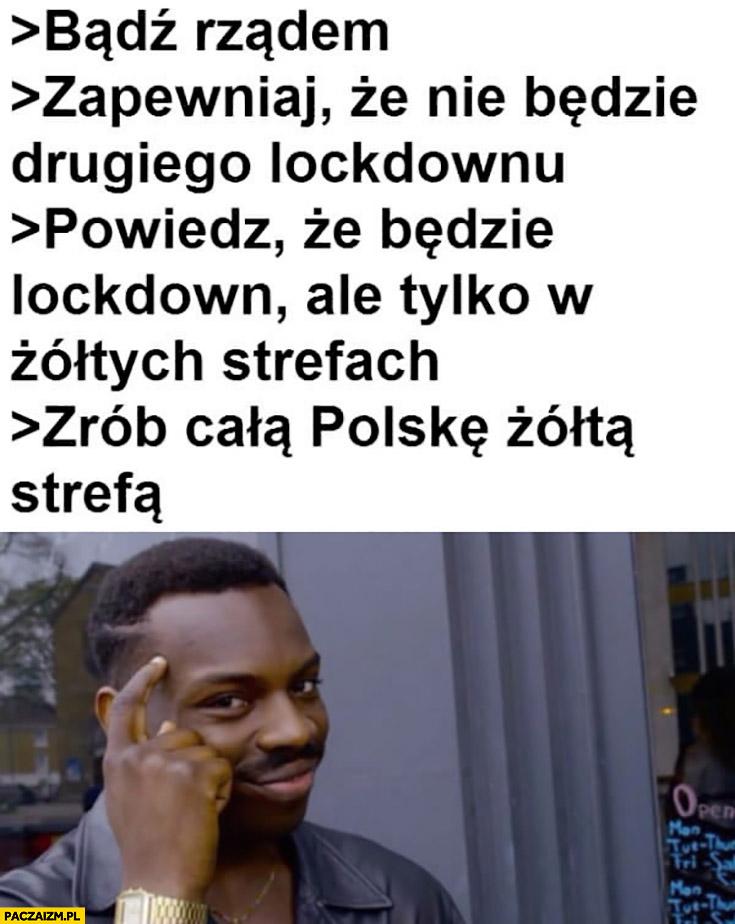 Bądź rządem, zapewniaj, że lockdown będzie tylko w żółtych strefach, zrób całą Polskę żółtą strefą protip lifehack