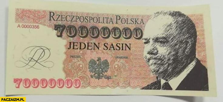 Banknot jeden Sasin siedemdziesiąt milionów złotych