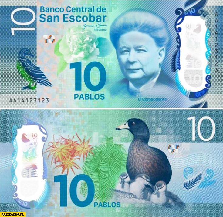 Banknot San Escobar 10 pablos Kaczyński