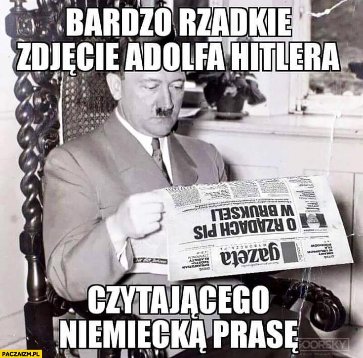 Bardzo rzadkie zdjęcie Adolfa Hitlera czytającego niemiecką prasę Gazeta Wyborcza