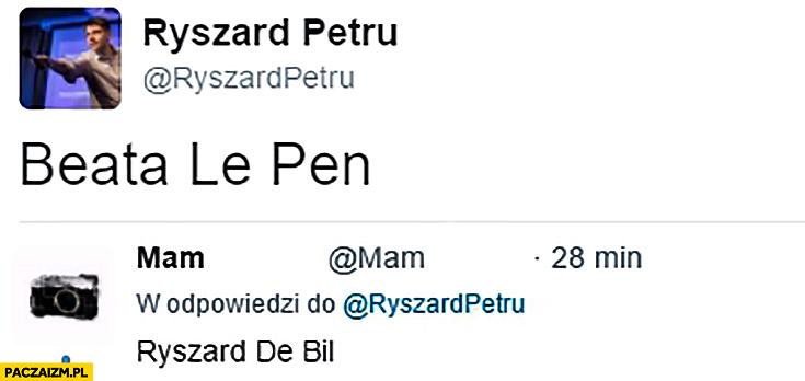 Beata Le Pen, Ryszard De Bil Petru na twitterze