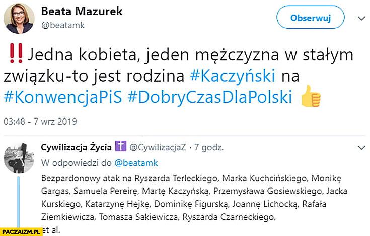 Beata Mazurek jedna kobieta jeden mężczyzna to jest rodzina bezpardonowy atak na osoby z PiS tweet twitter