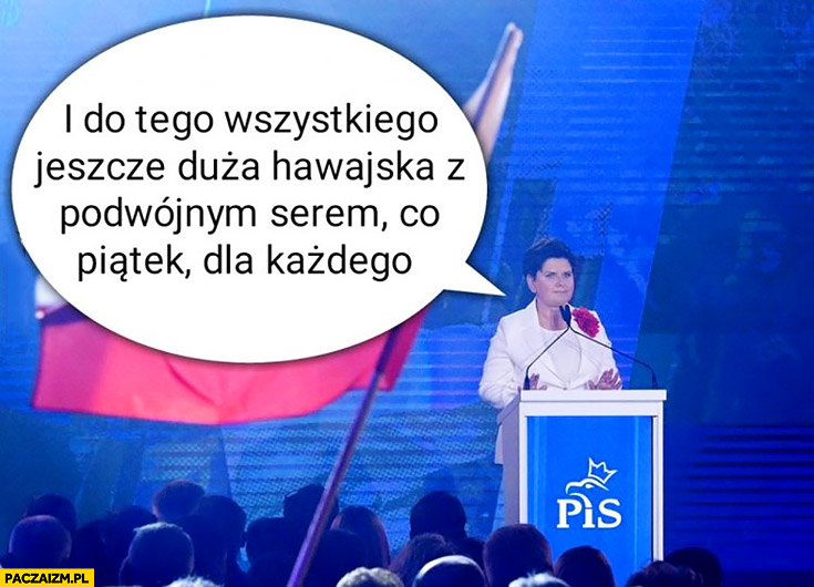 Beata Szydło i do tego wszystkiego jeszcze duża hawajska z podwójnym serem co piątek dla każdego konwencja PiS obietnice wyborcze