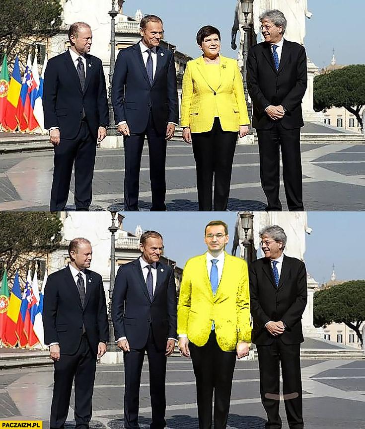 Beata Szydło Mateusz Morawiecki żółta marynarka przeróbka nowy premier