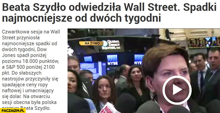 Beata Szydło odwiedziła Wall Street, spadki najmocniejsze od dwóch tygodni
