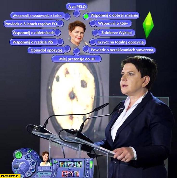 Beata Szydło The Sims Simsy cytaty co ma powiedzieć