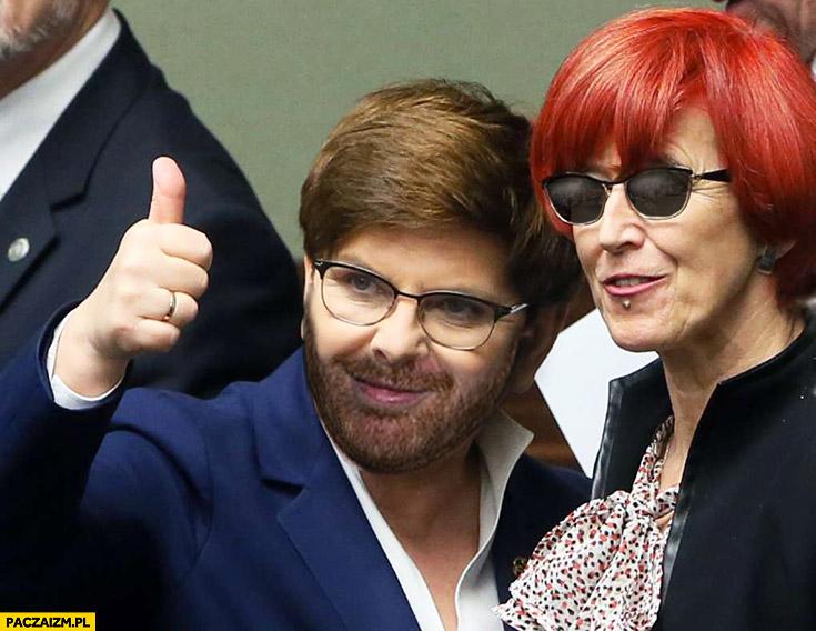 Beata Szydło z brodą wąsami